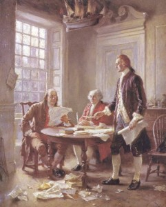 Creating the Declaration of Independence.